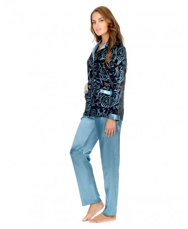 Velvet Flowers Design Top and Satin Pants Pyjama Set