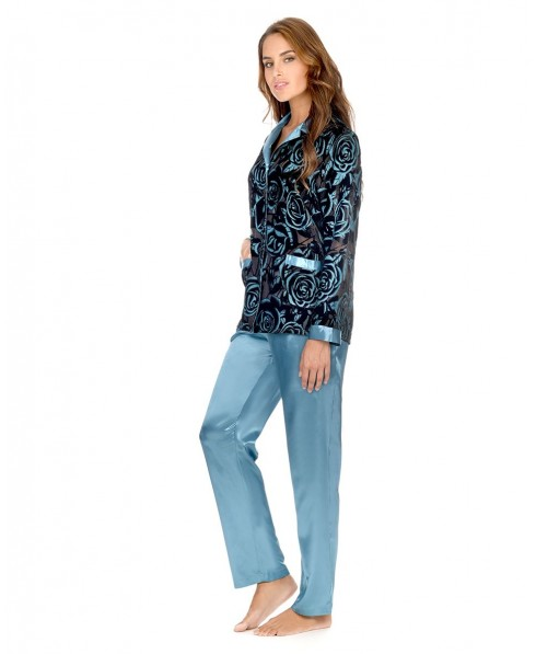 Velvet Flowers Design Top and Satin Pants Pyjama Set