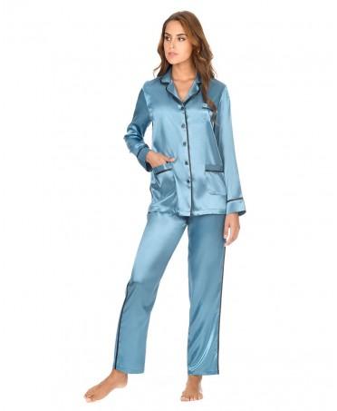 Pijama Largo Raso Con Vivo