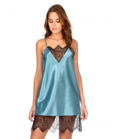 Satin lace adornment Nightdress with lace adornment