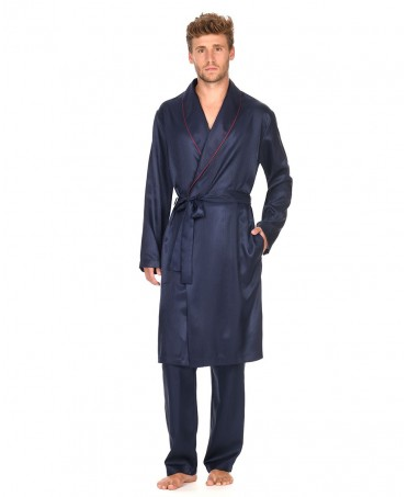 Satin Dressing Gown with piping adornment