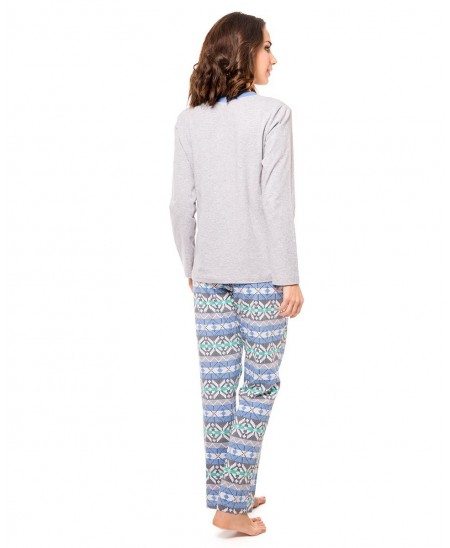Pijama Largo Punto Con Motivo