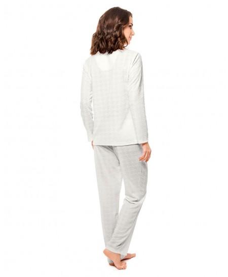 Pijama Largo Abierto Con Puntilla