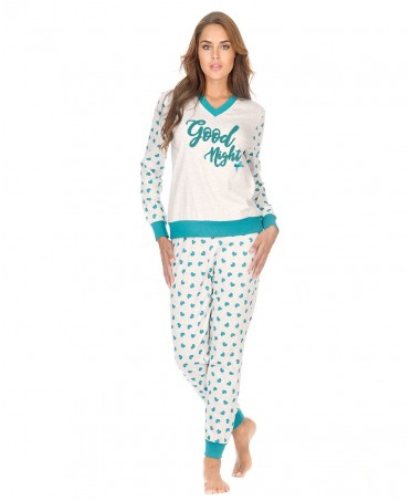 Green hearts print grey melange pyjama set