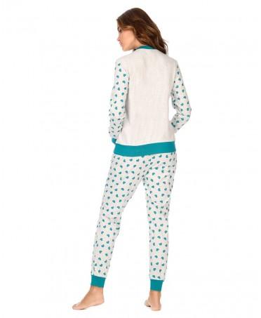 Green hearts print grey melange pyjama set