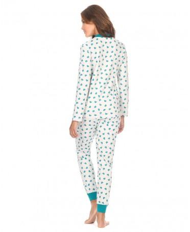 Green hearts print with zipper pyjama set