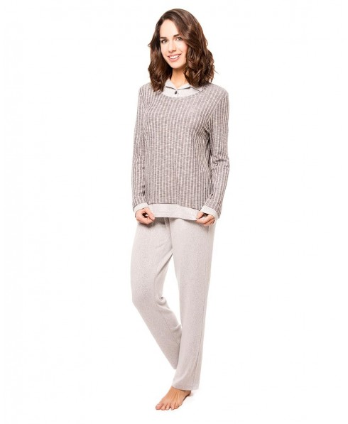 Grey Melange Rib Top and Grey Melange Pant