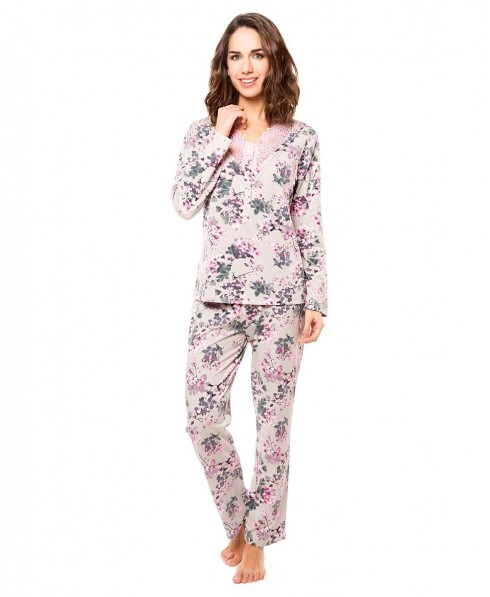 Grey Melange with Pink Flowers and pink lace Pyjama Set
