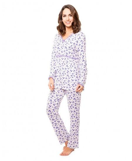 Pijama Largo Estampado Con Puntilla
