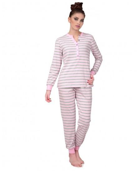 Pure cotton pink & grey stripes opened Pyjama Set