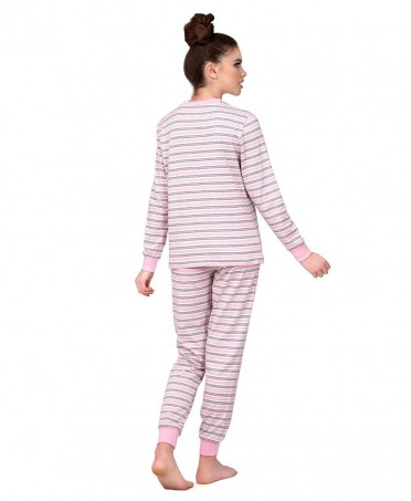 Pure cotton pink & grey stripes opened Pyjama Set