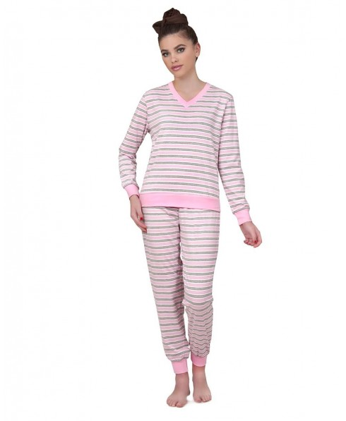 Pure cotton pink & grey Stripes Pyjama Set