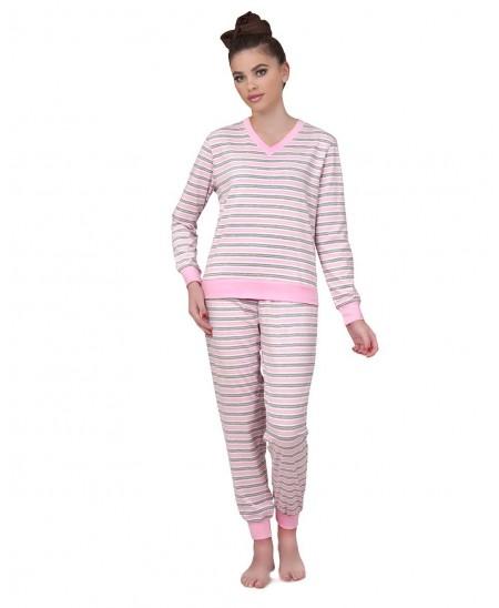 Pure cotton pink & grey Stripes Pyjama Set