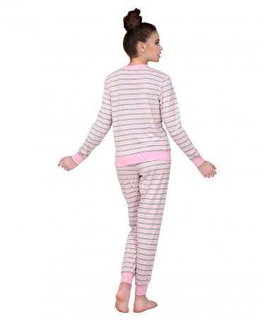 Pijama Largo Rayas Cuello Pico