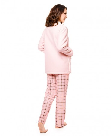 Double Sherpa and pink plain fabric Short Dressing Gown Buttoned