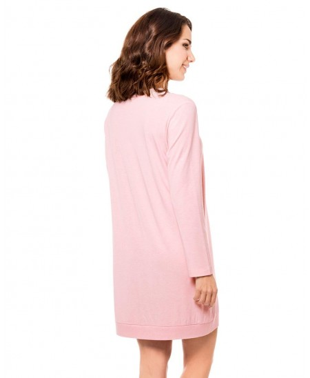 Pink melange printed with embroidery Nightdress