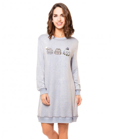 Blue melange with caps printed Nightdress