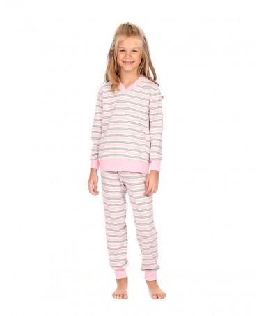 Pure cotton and Pink & grey Stripes Pyjama Set