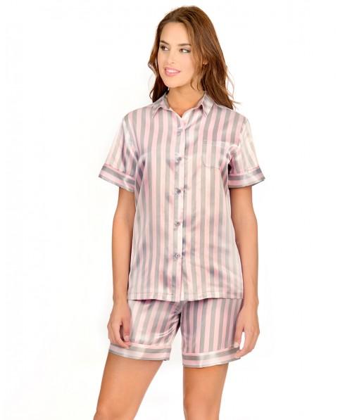 Striped Satin Pyjama Set Short Pants