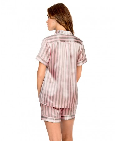 Striped Satin Pyjama Set Short Pants