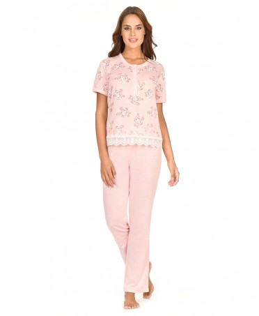 Flowers Printed Pyjama Set Long Pant
