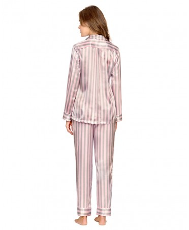 Striped Satin Pyjama Set Long Pant