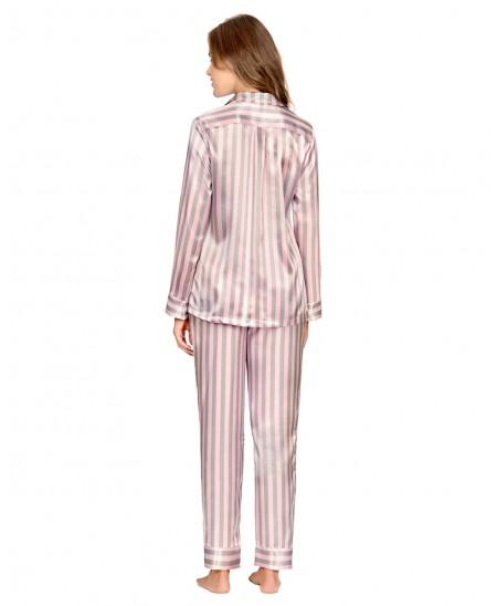 Striped Satin Pyjama Set Long Pant