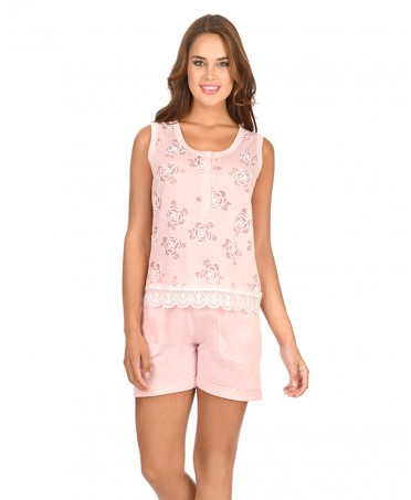 Flowers Printed Pyjama Set Short Pant