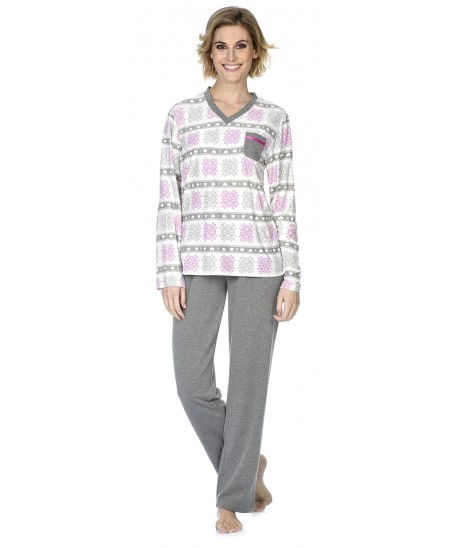 Snow star print pyjama  with pants in grey melange
