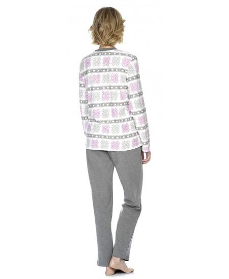 Snow star print pyjama  with pants in grey melange