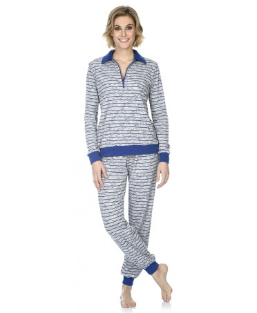 Stripes print with zipper pyjama set
