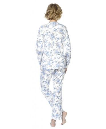 Pijama largo de mujer Lohe abierto estampado flores puntilla