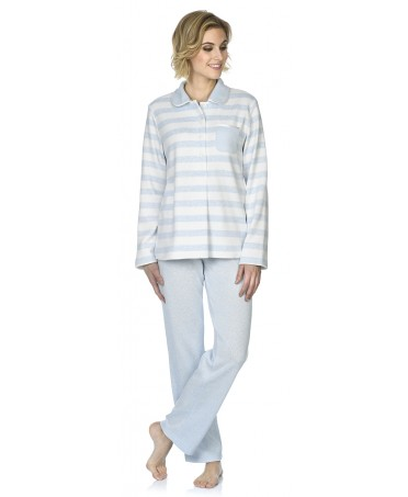 Sky blue&white stripes print pyjama with melange sky bue pants