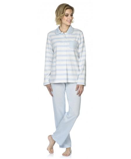Sky blue&white stripes print pyjama with melange sky bue pants