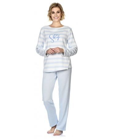 Pijama largo de mujer Lohe cuello redondo rayas bordado