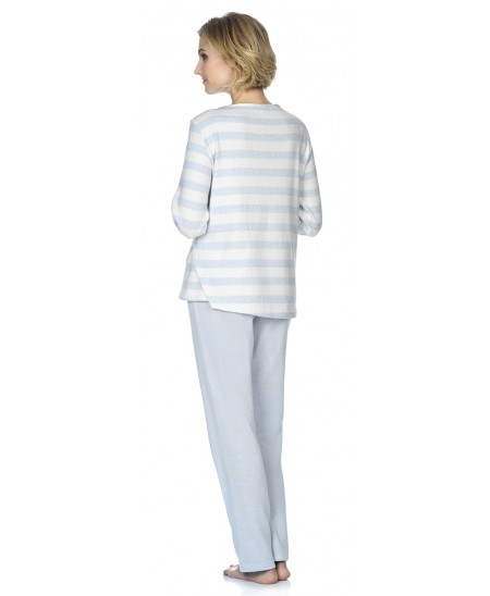 Sky blue&white stripes print with embroidery  pyjama with melange sky blue pants