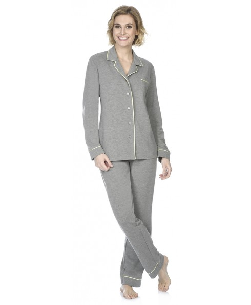 Grey melange pyjama set with satin piping adornment