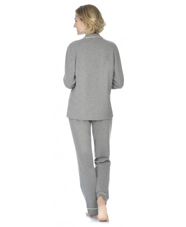 Grey melange pyjama set with satin piping adornment