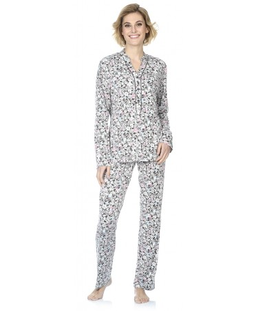 Flowers print  pyjama set with piping adornment