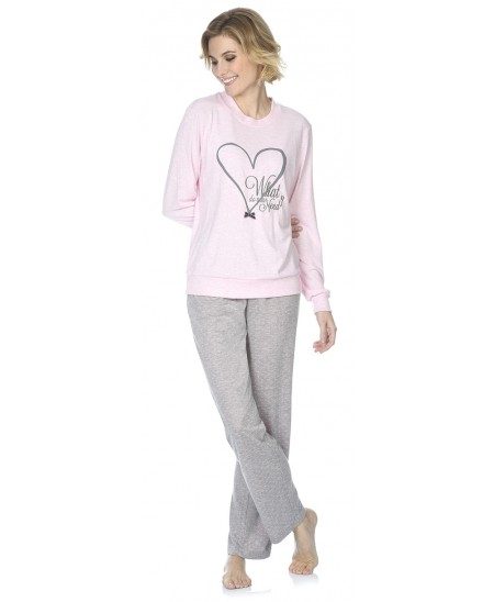 Heart embroidery pyjama with  grey melange and pink dots pants