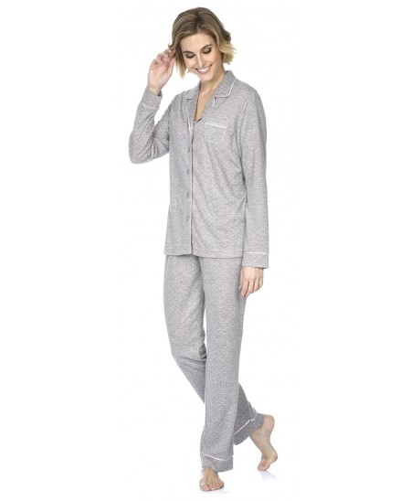 Grey melange with pink dots print pyjama set with piping adornment