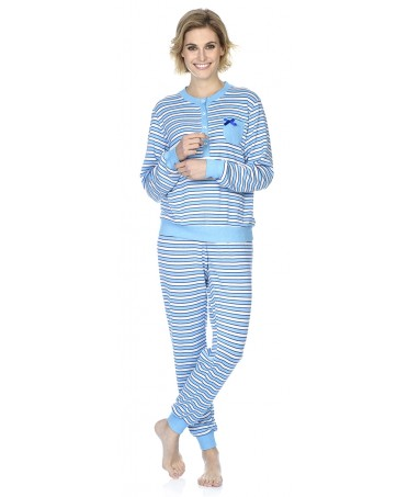 Turquoise stripes print pyjama set