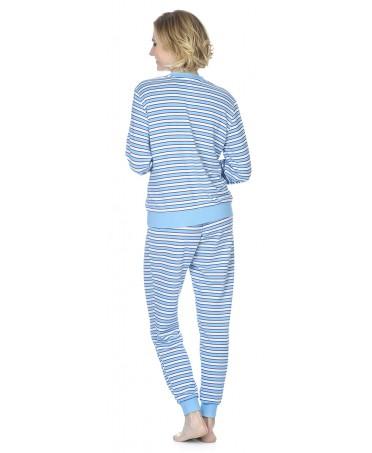 Pijama largo de mujer Lohe rayas con pata abotonada