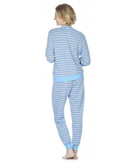 Turquoise stripes print pyjama set