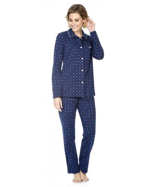 Dots print pyjama set with piping adornment