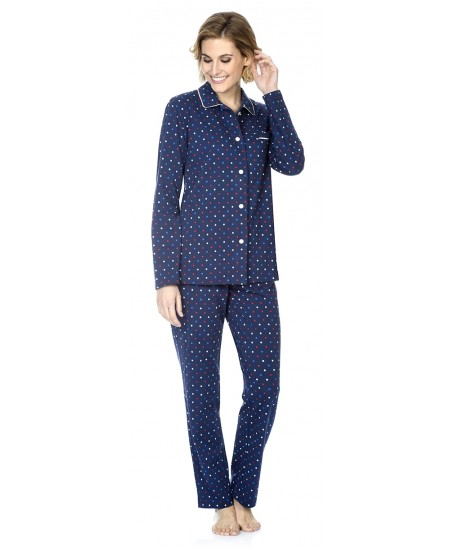 Dots print pyjama set with piping adornment
