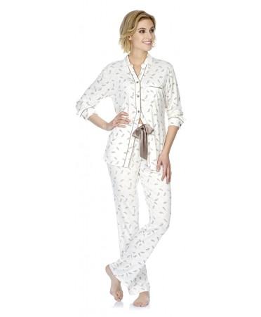 Pijama largo de mujer Lohe abierto estampado plumas