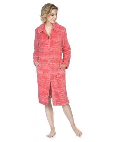 Red and pink stripes dressing gown with zipper