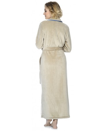 Camel stripes jacquard dressing gown with blue piping adornment