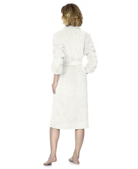 Classic dresing gown with jacuqard in neck and cuff